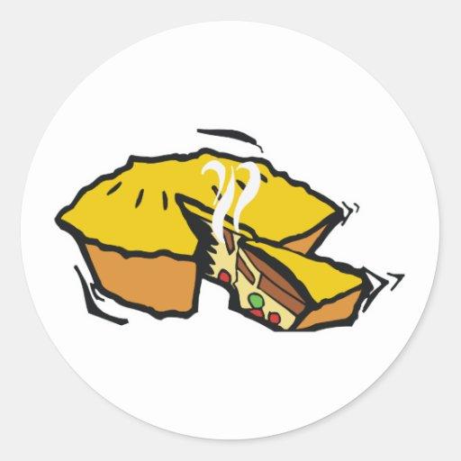 empanada caliente pegatina redonda