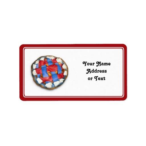 Empanada de Apple blanca y azul roja Etiqueta De Dirección
