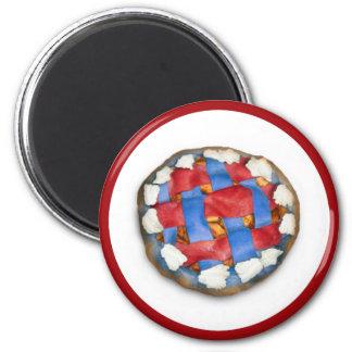 Empanada de Apple blanca y azul roja Imán Redondo 5 Cm