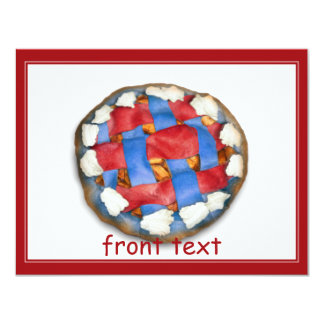 """Empanada de Apple blanca y azul roja Invitación 4.25"""" X 5.5"""""""