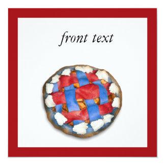 """Empanada de Apple blanca y azul roja Invitación 5.25"""" X 5.25"""""""