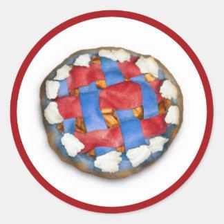 Empanada de Apple blanca y azul roja Pegatina Redonda