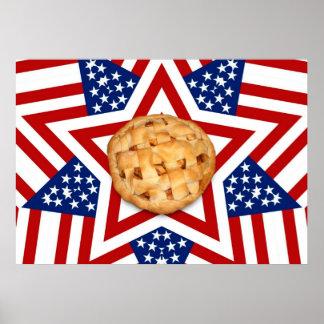 Empanada de Apple en las estrellas y las rayas Póster