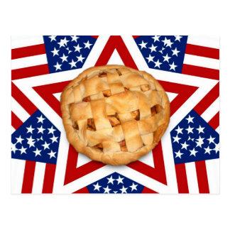 Empanada de Apple en las estrellas y las rayas Postal