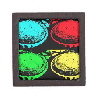 empanada de la cereza del arte pop con un desmoche cajas de joyas de calidad