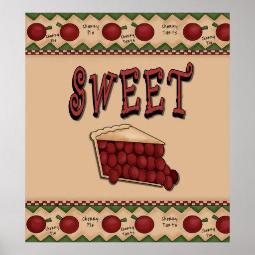 Empanada de la cereza dulce con la frontera de las póster