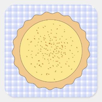 Empanada de la tarta de las natillas pegatina cuadrada