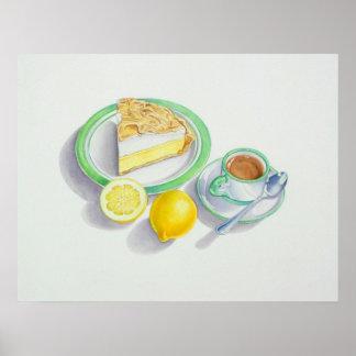 Empanada de merengue de limón con café express póster