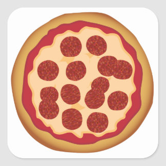 Empanada de pizza de salchichones pegatinas cuadradases