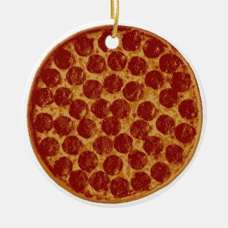 Empanada de pizza deliciosa adorno navideño redondo de cerámica