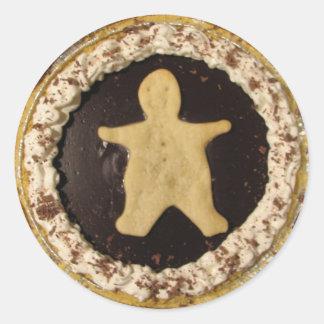 Empanada del hombre del chocolate pegatina redonda