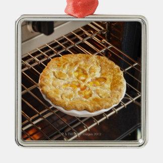 Empanada del melocotón adorno navideño cuadrado de metal
