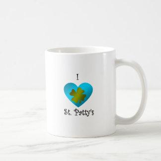 Empanada del santo del corazón I en oro y azul Taza De Café
