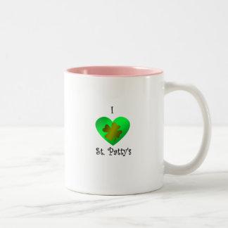Empanada del santo del corazón I en oro y verde Tazas De Café