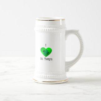 Empanada del santo del corazón I en verde en verde Tazas De Café