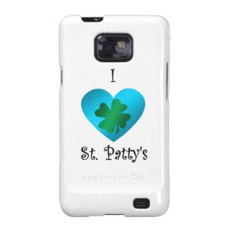 Empanada del santo del corazón I en verde y azul Samsung Galaxy SII Funda