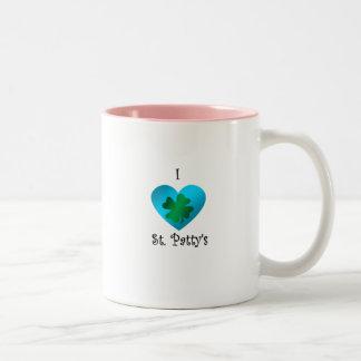 Empanada del santo del corazón I en verde y azul Taza De Café