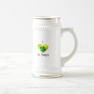 Empanada del santo del corazón I en verde y oro Taza De Café