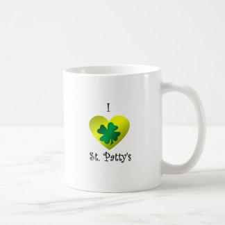 Empanada del santo del corazón I en verde y oro Tazas De Café