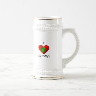 Empanada del santo del corazón I en verde y rojo Taza De Café