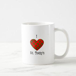 Empanada del santo del corazón I en verde y rojo Tazas De Café
