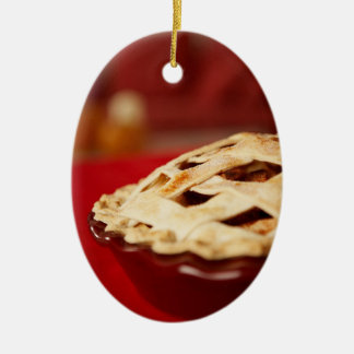 empanada Enrejado-rematada de la fruta Adorno Navideño Ovalado De Cerámica