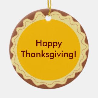 Empanada feliz de la acción de gracias adorno navideño redondo de cerámica