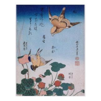 Empanada Katsushika del trago y de la begonia y de Postales