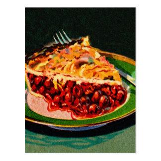 Empanada retra de la cereza del arte del libro de tarjeta postal