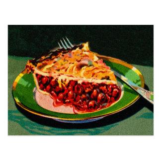 Empanada retra de la cereza del arte del libro de postales