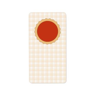 Empanada roja. Tarta de la fresa. Control beige Etiquetas De Dirección