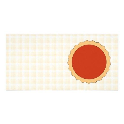 Empanada roja. Tarta de la fresa. Control beige Tarjeta Fotográfica