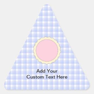 Empanada rosada. Tarta de la fresa. Control azul Pegatina Triangular