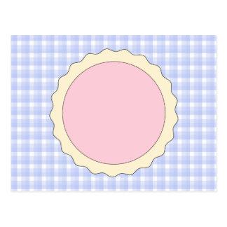 Empanada rosada. Tarta de la fresa. Control azul Postal