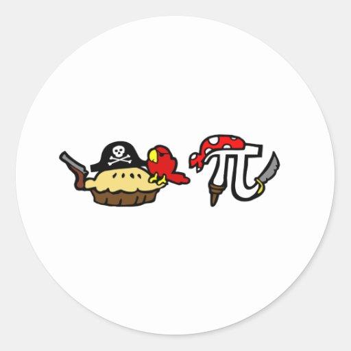 Empanada y piratas del pi etiquetas redondas