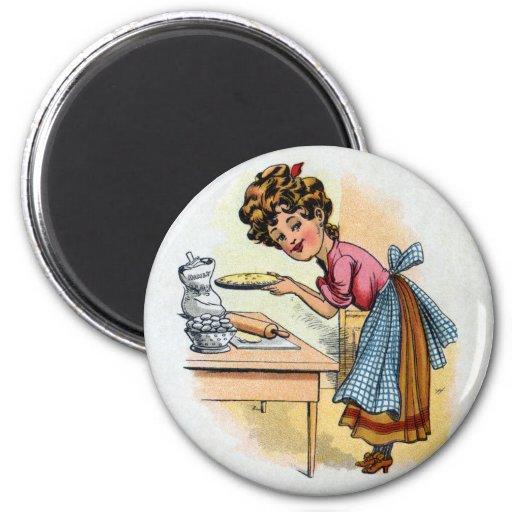 Empanadas de la hornada de la mujer imán redondo 5 cm
