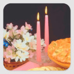 Empanadas y velas de elegancia calcomania cuadradas