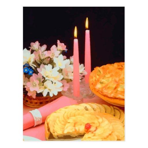 Empanadas y velas de elegancia tarjeta postal