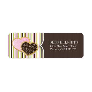 Empaquetado de la galleta del corazón y etiquetas etiqueta de remitente
