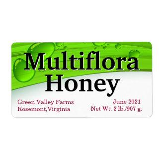 Empaquetado del tarro de la miel de Multiflora Etiquetas De Envío