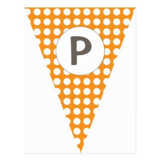 Empavesado adaptable anaranjado de la bandera de postales