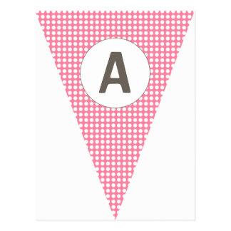 Empavesado adaptable rosado de la bandera de postales