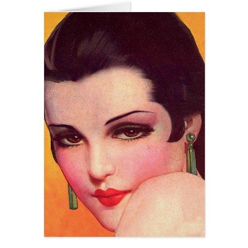 Empeine ascendente del Pin de los años 20 retros d Tarjeta De Felicitación