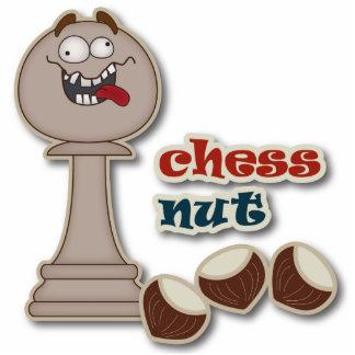 Empeño del ajedrez, nueces del ajedrez y castañas fotoescultura vertical