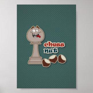 Empeño del ajedrez, nueces del ajedrez y castañas póster