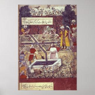 Emperador Babur y su plan del arquitecto Póster