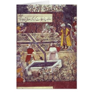 Emperador Babur y su plan del arquitecto Tarjeta De Felicitación