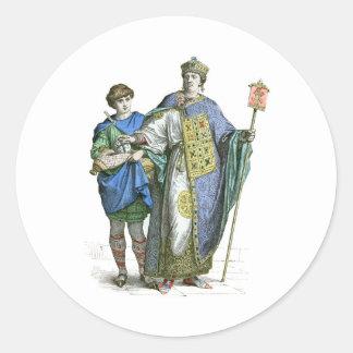Emperador bizantino etiquetas redondas