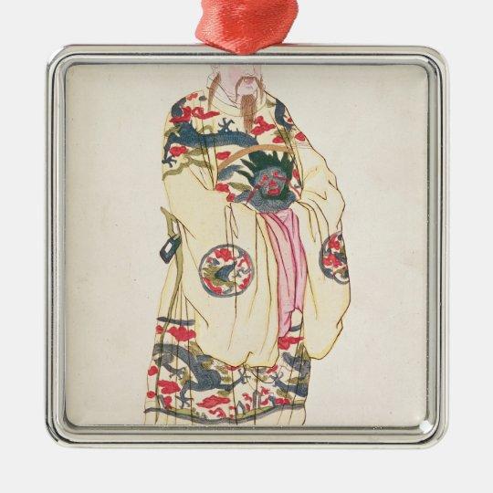 Emperador chino en traje ceremonial adorno navideño cuadrado de metal