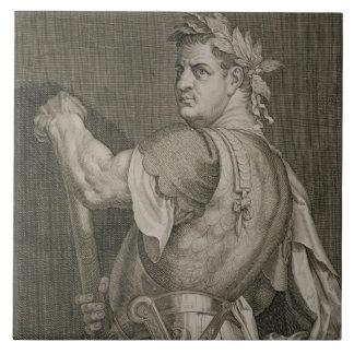 Emperador de D. Titus Vespasian del engrav del ANU Azulejo Cuadrado Grande